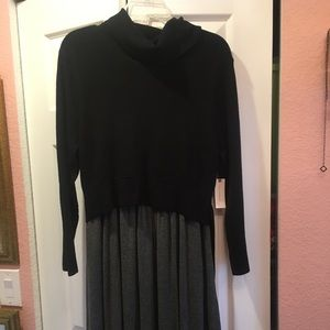 Moth Anthropologie black and grey dress